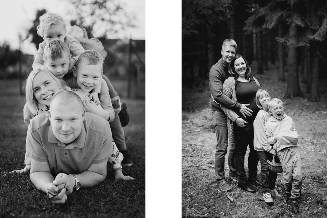 Portret rodicu a jejich deti v lese.