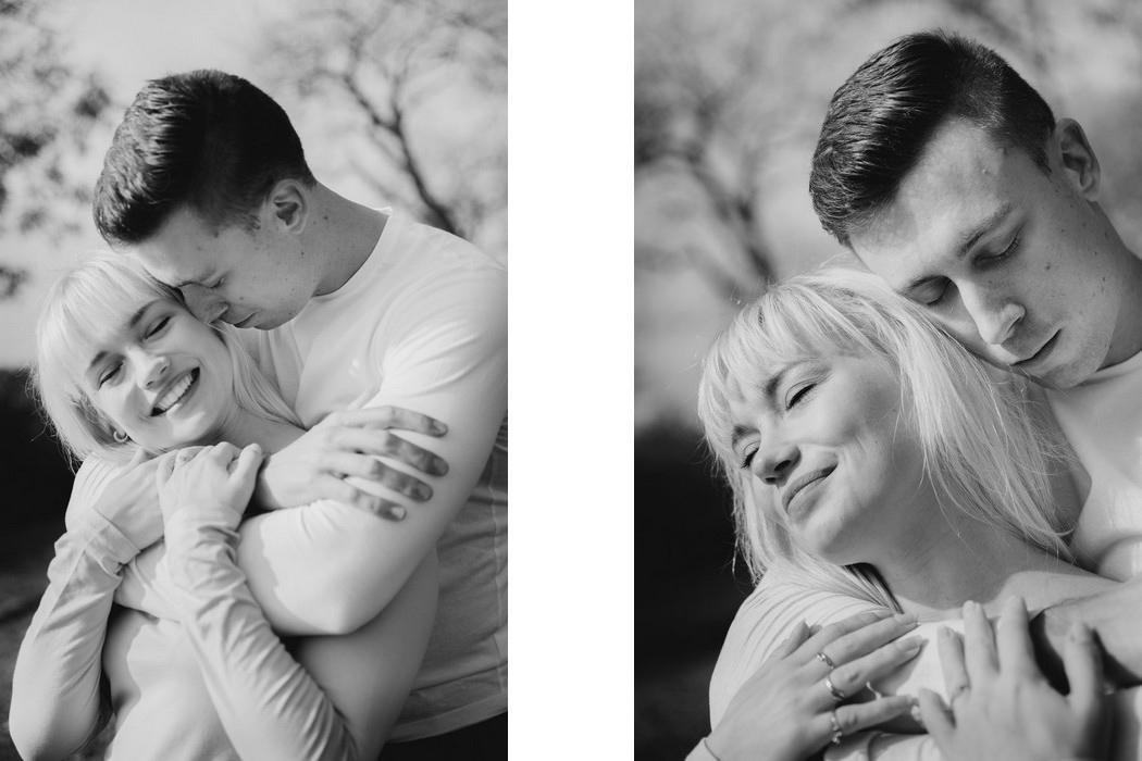 portréty objímajících se snoubenců