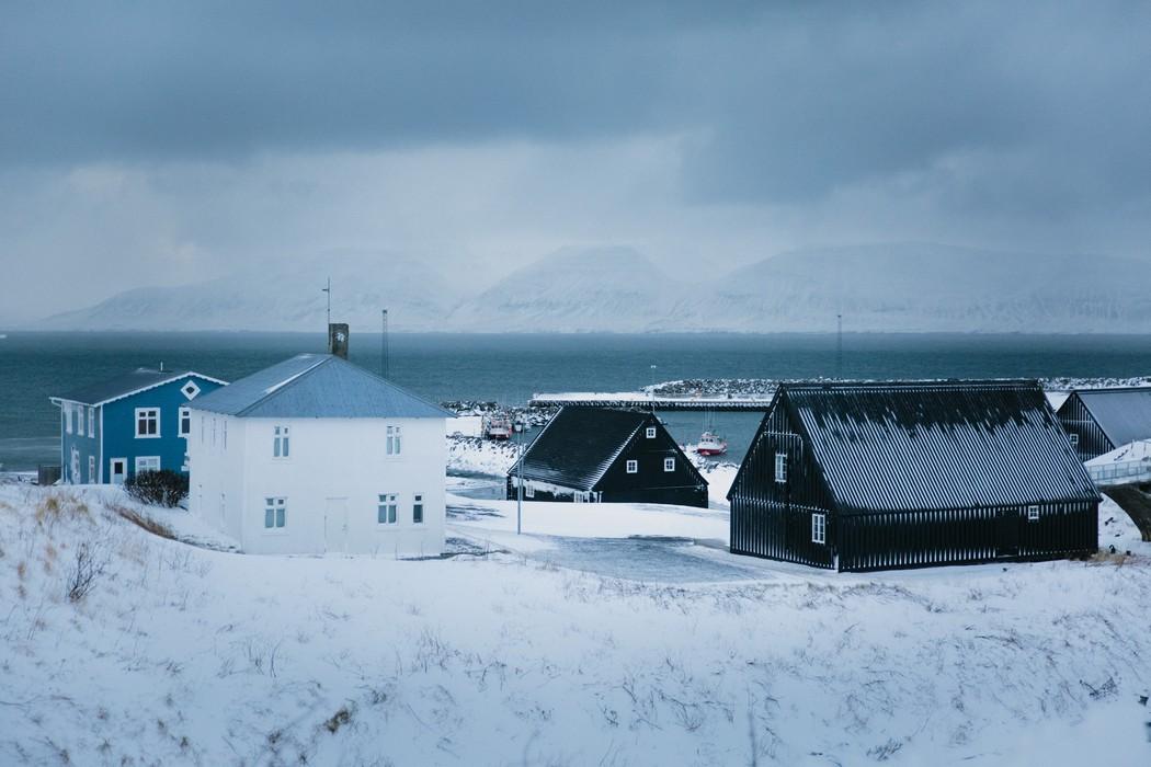 Islandské domky v zimě