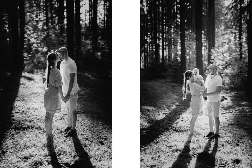 pár se synkem v lese