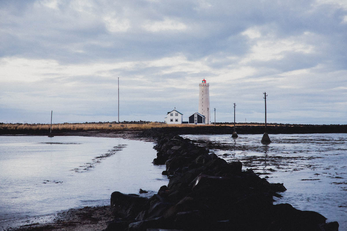icelandic shore with lighthouse