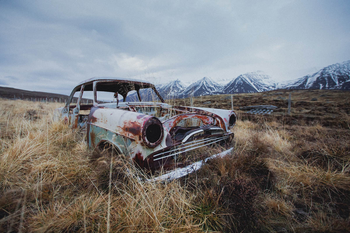 icelandic landscape with a car