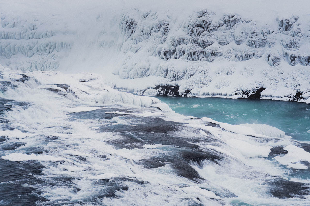zmrzlé vodopády gullfoss